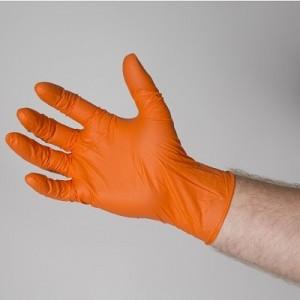 Orange Nitrile Gloves Powder Free
